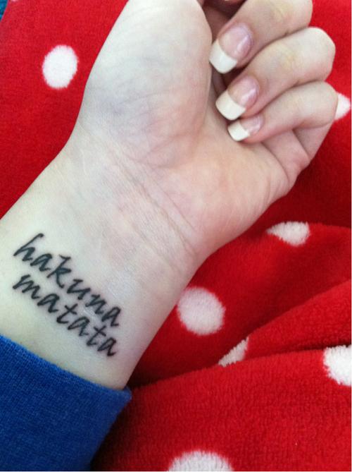 hakuna matata wrist tattoo