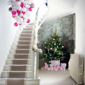 Large Christmas Ornaments Chandelier (via lavenderandlilies)