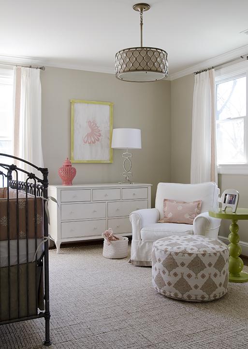 nurseries – tan walls white drapes coral pink Greek key trim antique trim pink g