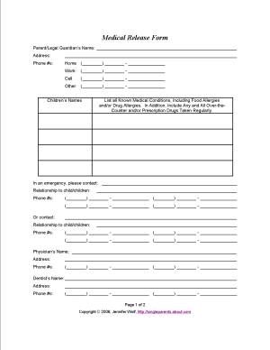 Single Parents: Check Out These Printable Consent Forms and Documents: Printable Medical Release Form