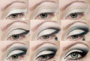 White Smoky Eye Makeup Idea for Green Eyes