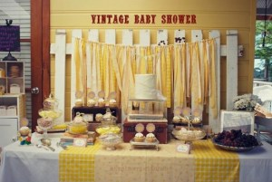yellow vintage boy baby shower