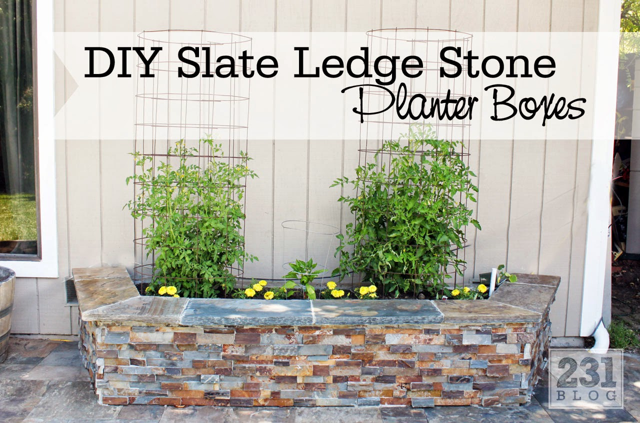 DIY SLATE LEDGE STONE PLANTER BOXES