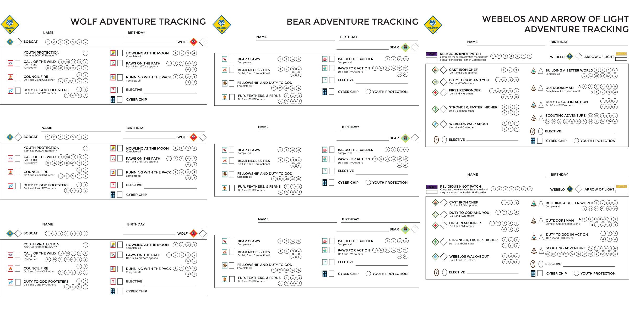 New Cub Scout Tracking Sheets