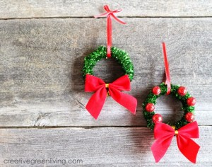 It's hard to believe shower curtain rings are what these wreaths are made of. Top them off with red ornaments to match their bow. Get the tutorial at Creative Green Living »