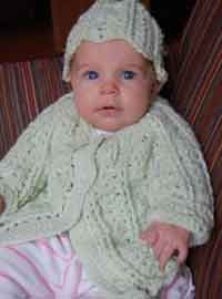 Shell Stitch Baby Cardigan & Hat