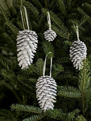 Spray-painted white, pinecones really pop against evergreen boughs. RELATED: 12 Easy, Homemade Christmas Ornaments