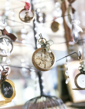 Craft unique ornaments using old photos and pocket-watch cases.