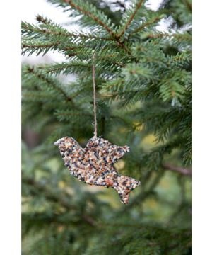 Attract blue jays and goldfinches in winter with this frozen birdseed ornament, adapted from Ernst Kirchsteiger's Swedish Christmas Traditions ($19.95; Skyhorse). Instructions: Bird Seed Ornament