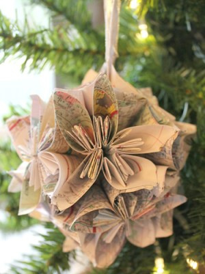 Recycle your old paper maps by turning them into ornaments! Simply follow this blogger's surprisingly easy folding technique, then loop with a ribbon to finish. Get the tutorial at Chic California.