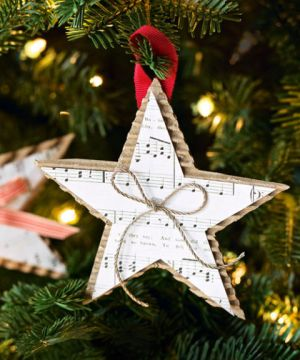 Show off your favorite holiday tune by displaying the sheet music in the form of a star. Place a small bow in the middle for an added accent. Get the tutorial at Good Housekeeping »