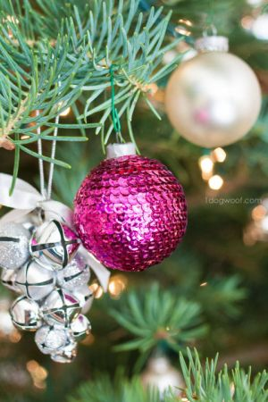 They may look like mini disco balls, but an ornament covered in bright colored sequins is the pop of brightness your Christmas tree is missing. Get the tutorial at One Dog Woof »