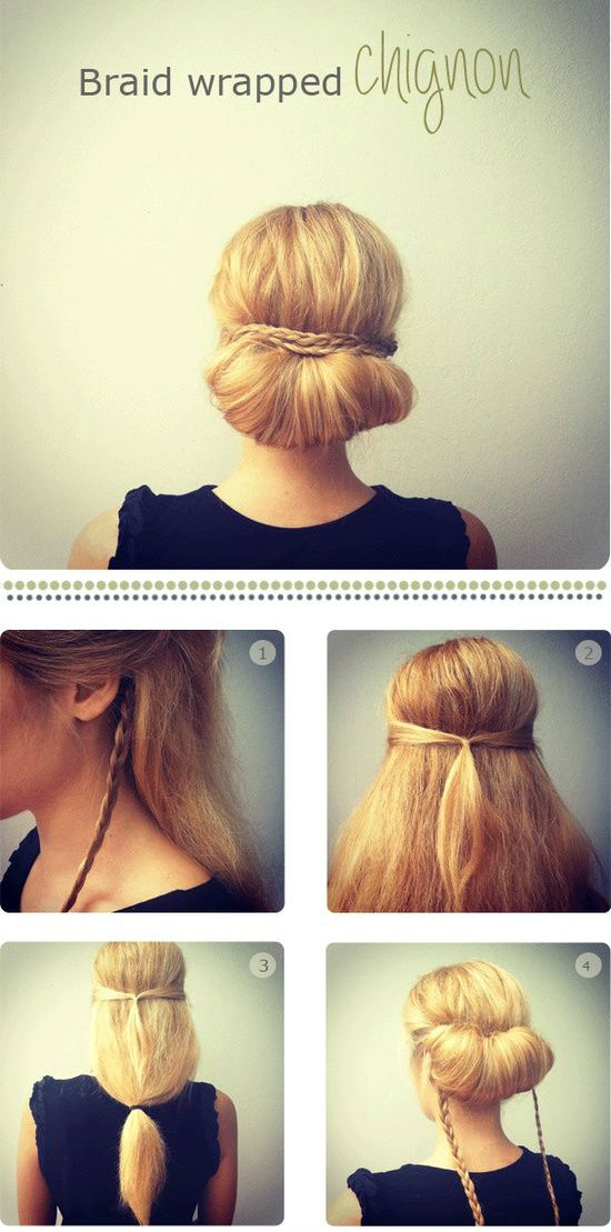 Braid wrapped chignon – A SUPER easy up-do for work or date night.