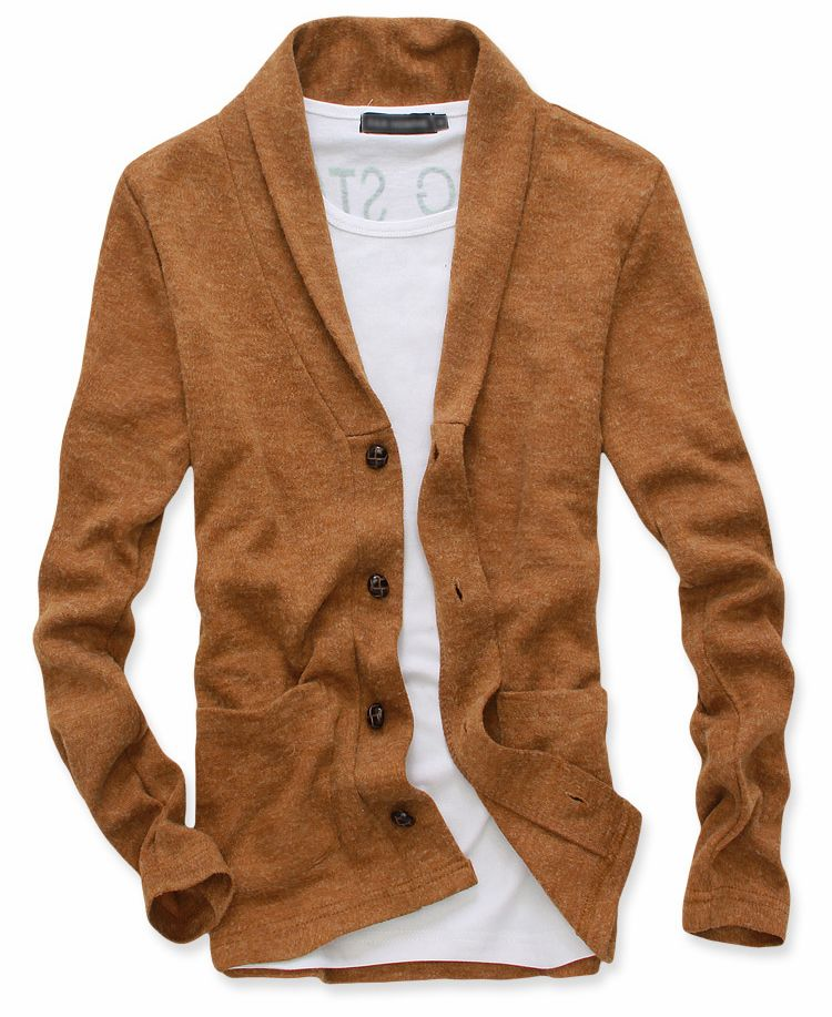 Men Stylish Single-breasted Double Pockets Cardigan Coat
