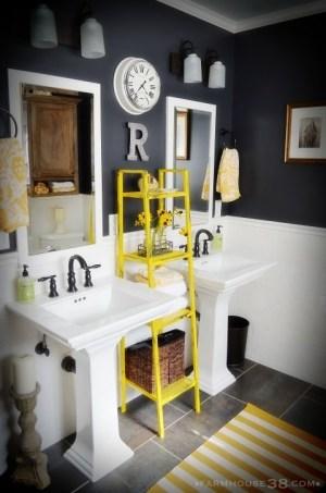 Love the shelf and bathroom colors