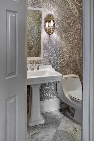 Paisley Wallpaper, Transitional, bathroom