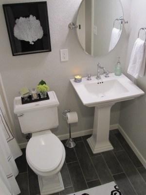 Pedestal sink, floor, toilet