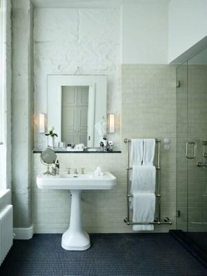 Thirties Style - pedestal sink, sconces, & heated towel rack