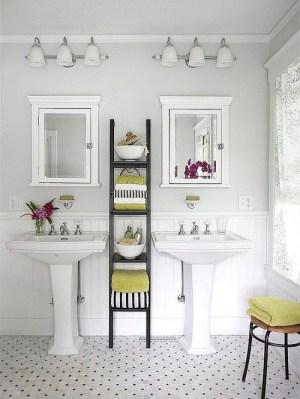 bathroom pedestal sinks with ladder storage for the new master bath.