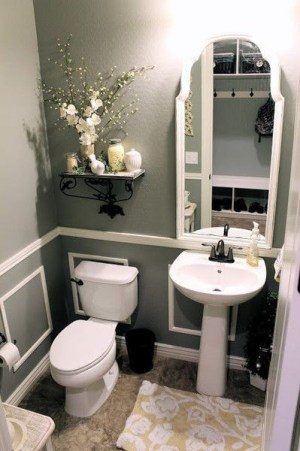 gray bathroom with white accents