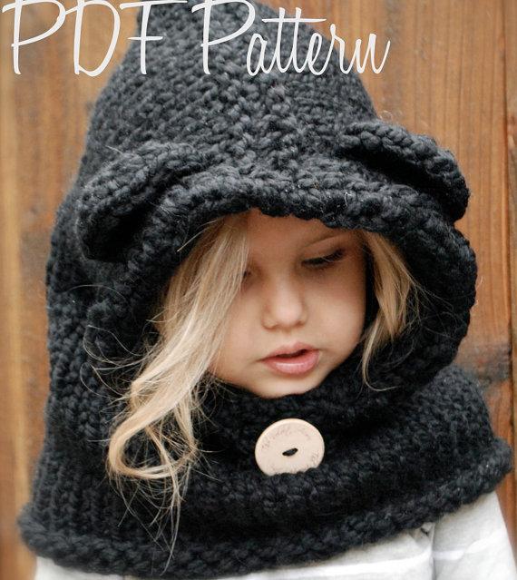 Knitting PATTERN-The Burton Bear Cowl (6/9 month – 12/18 month – Toddler – Child