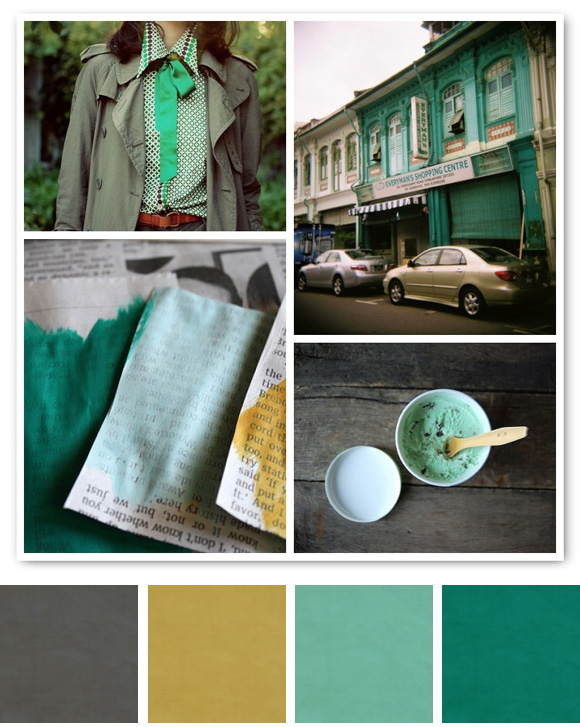 aqua green, grey, and a mustardy yellow color for your decor ideas