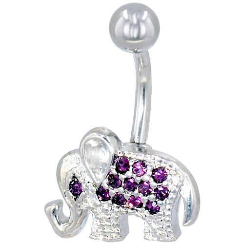 Belly Navel Rings Silver Purple Crystal Elephant Jewelry