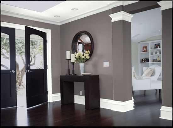 Dark wood Gray walls White trim