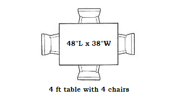 Dining Table seating capacities chart by size and shape