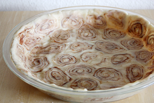 Flattened cinnamon rolls for an apple pie crust. Thanksgiving