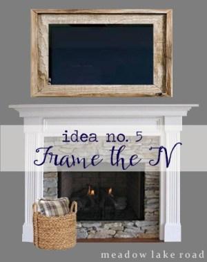 tv over mantel decorating - framed tv