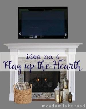 tv over mantel decorating - hearth accessories