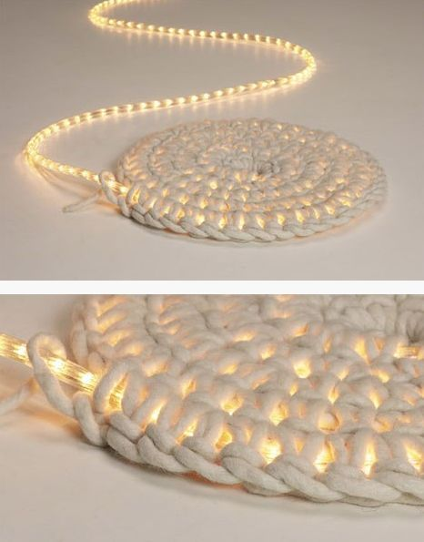 Crochet around a rope light to create a light-up rug. Great for a covered patio outside at night.