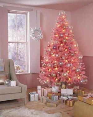 Pink christmas trees decorated