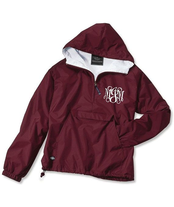 Maroon Monogrammed Personalized Half Zip Rain Jacket Pullover by Charles River Apparel on Etsy, $30.00