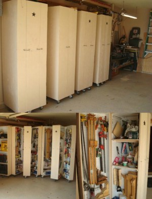 Create Rolling Cabinets for Tool Storage - 49 Brilliant Garage Organization Tips, Ideas and DIY Projects