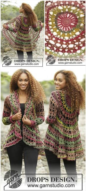 free crochet fall forest sweater jacket