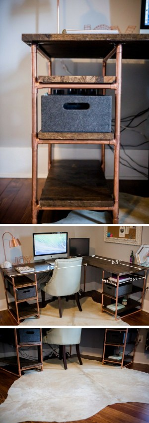 Check out the tutorial how to build a DIY copper and pipe desk