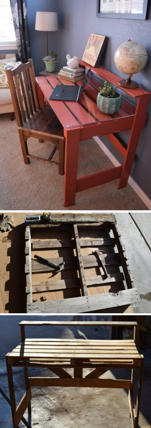 Check out the tutorial how to build a DIY pallet desk