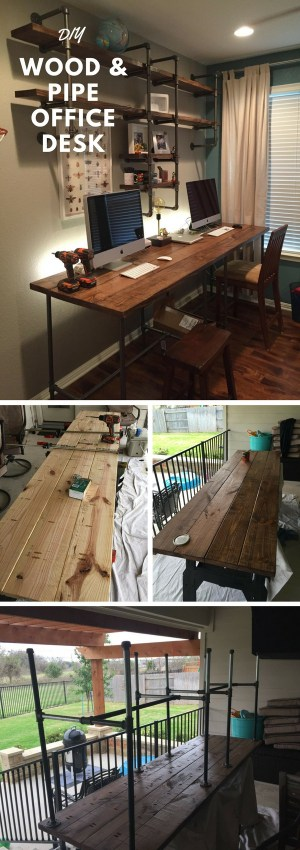Check out the tutorial how to build a DIY pipe and wood office desk