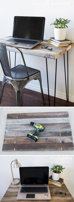 Check out the tutorial how to make a #DIY #reclaimed wood desk with hairpin legs #homedecor #woodworking