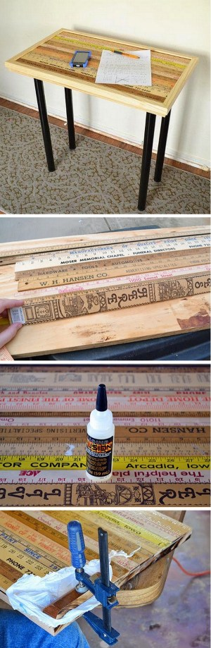 Check out the tutorial how to build a DIY vintage yardstick desk