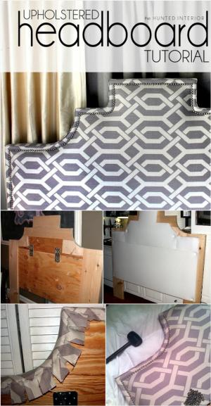 home-built tufted headboard with nail head trim