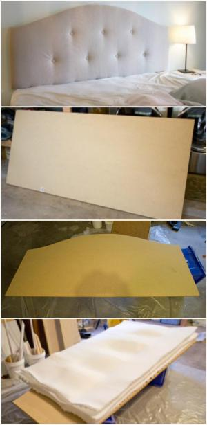 camel back style upholstered headboard