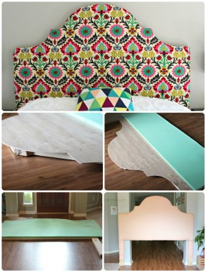 handmade tufted and fabric covered curvy headboard