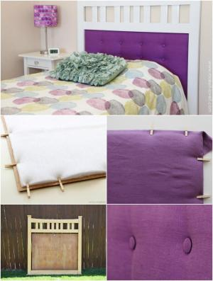 purple and white framed tufted headboard