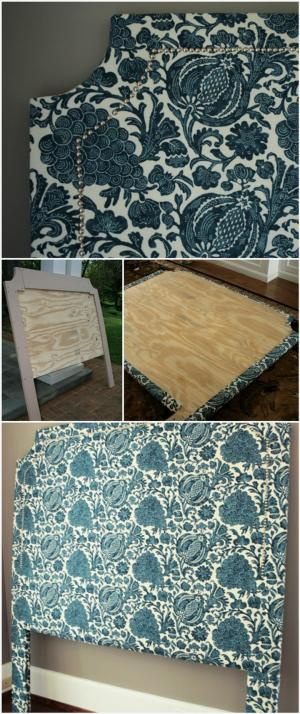 self-made tufted headboard with nail head trim