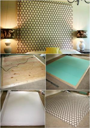 handcrafted upholstered headboard with nail head trim