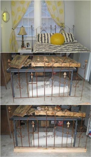 upcycled wrought iron grill headboard