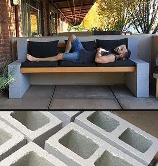 How to make your own inexpensive DIY outdoor bench using a few concrete blocks